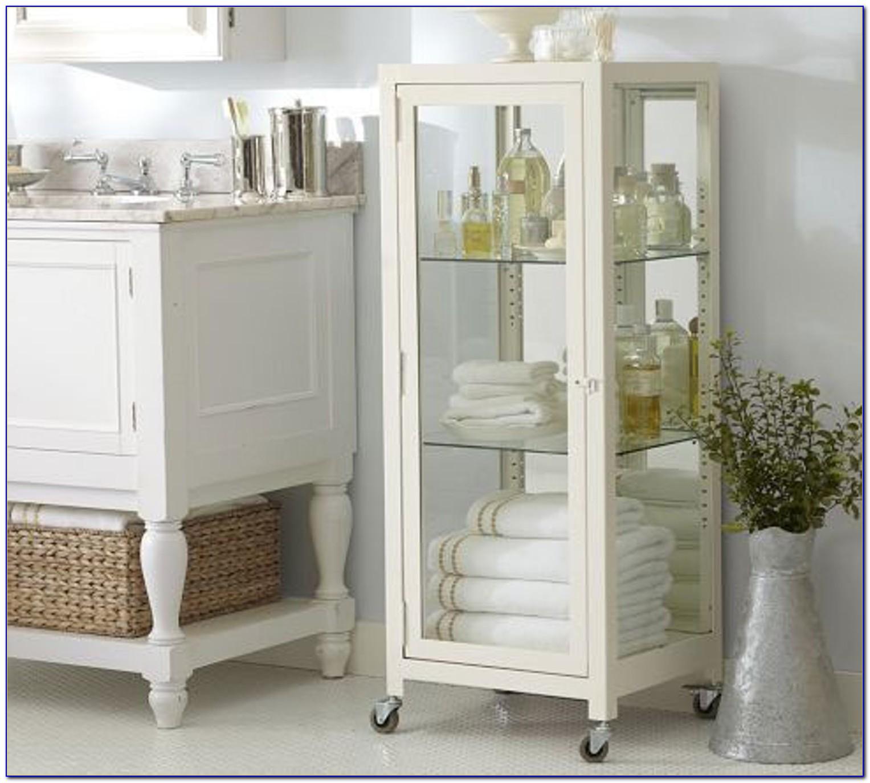 Wooden Bathroom Floor Storage Cabinet Organizer