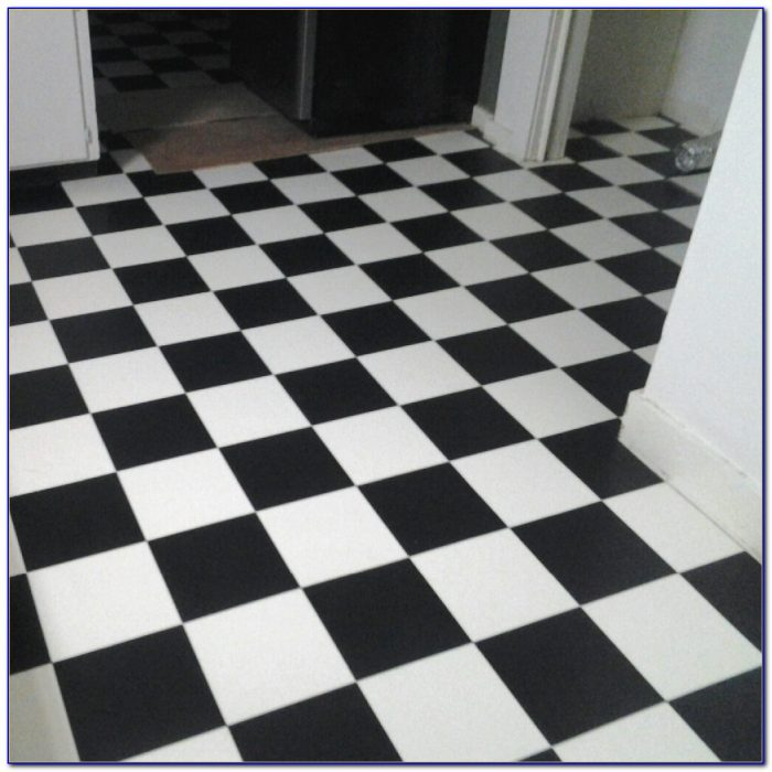 Small black and white checkered vinyl flooring flooring for Black vinyl floor tiles