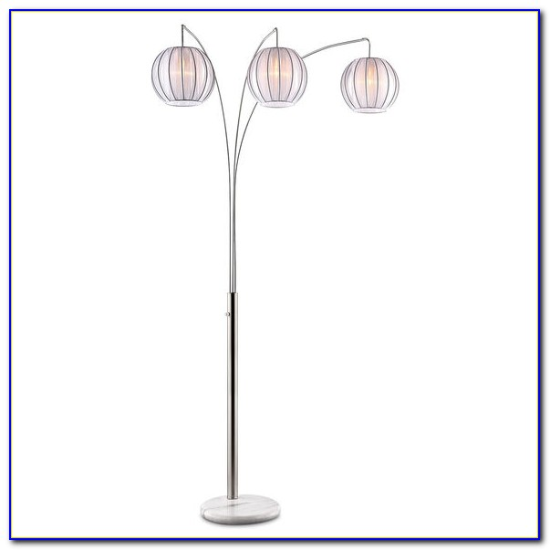 Brushed Steel 3 Light Lantern Arc Floor Lamp