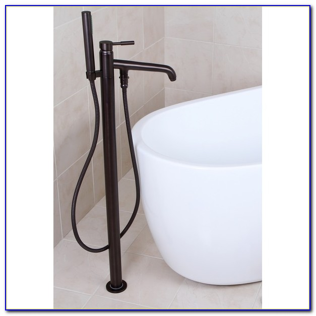 Floor Mount Tub Faucet With Hand Shower