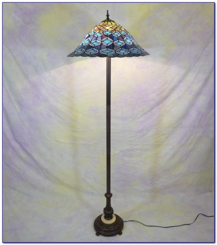 Peacock Tiffany Style Real Stained Glass Floor Lamp