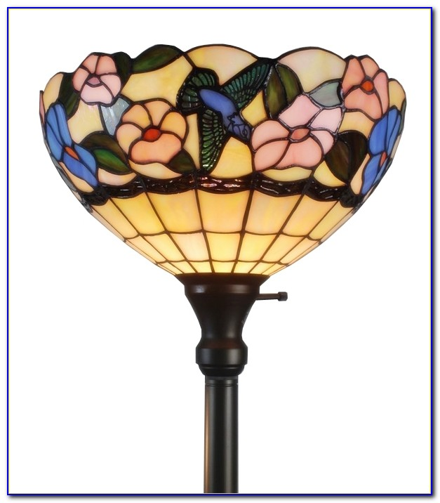 Tiffany Peacock Torchiere Floor Lamp