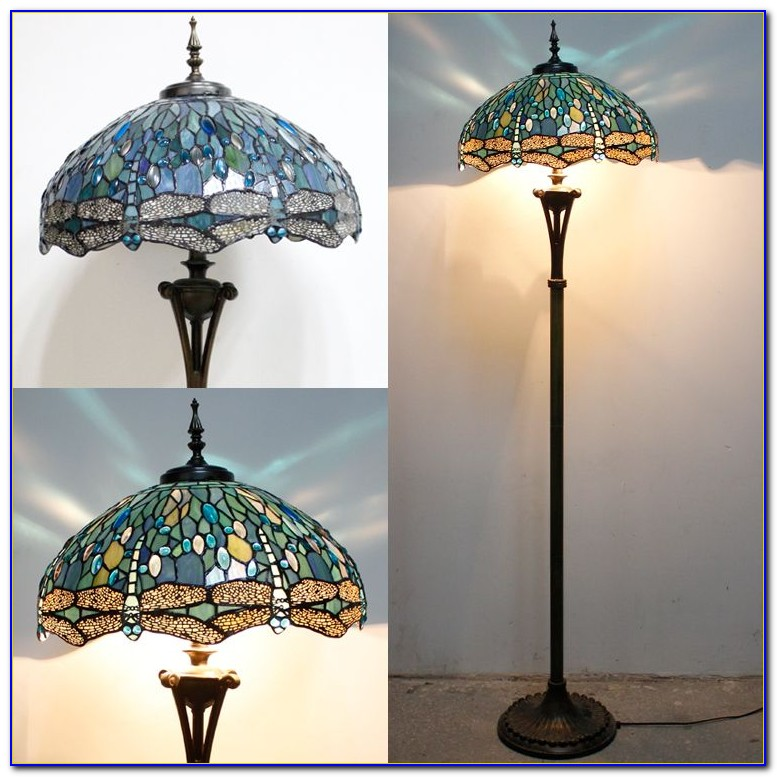 Tiffany Style Dragonfly Floor Lamp With Mosaic Base
