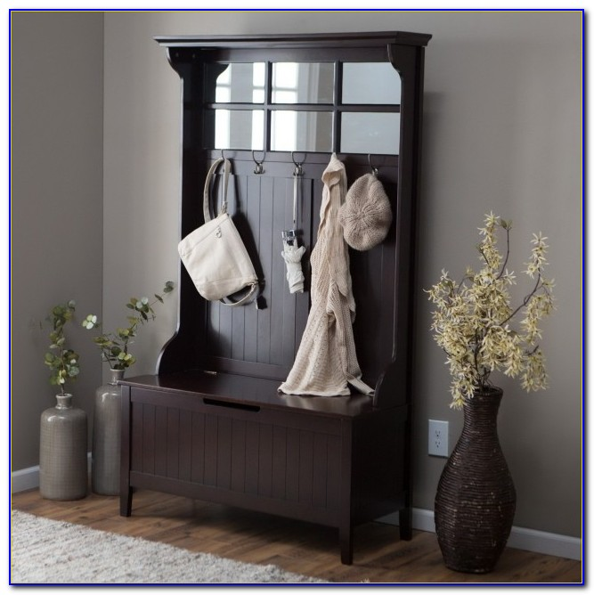 Black Metal Entryway Storage Bench With Coat Rack