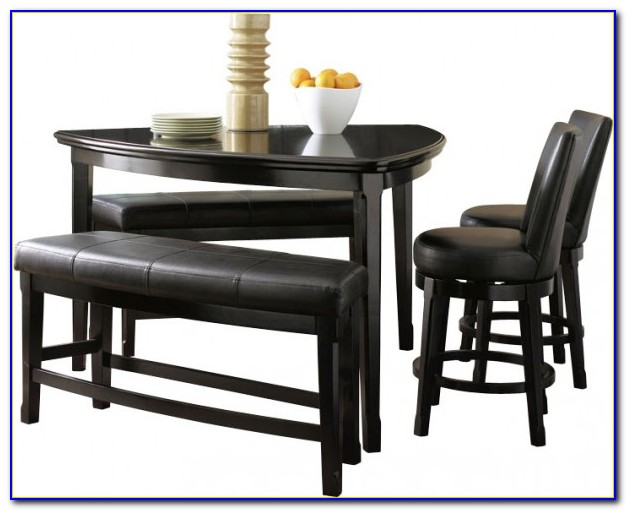 Black Triangle Dining Table With Benches