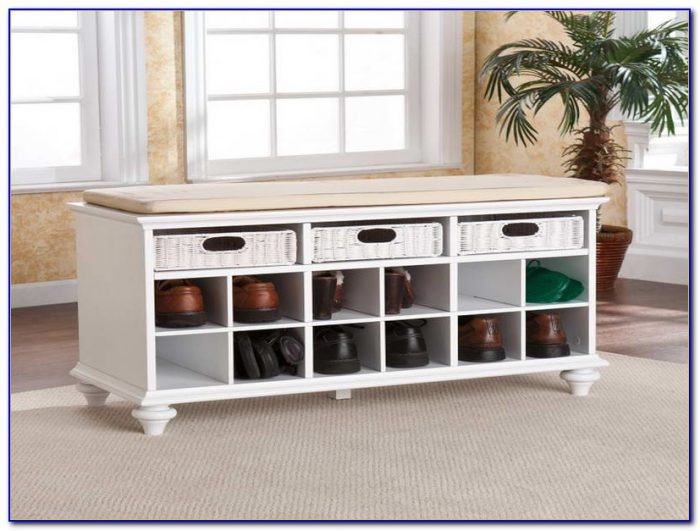 Entryway Bench With Storage And Shelf