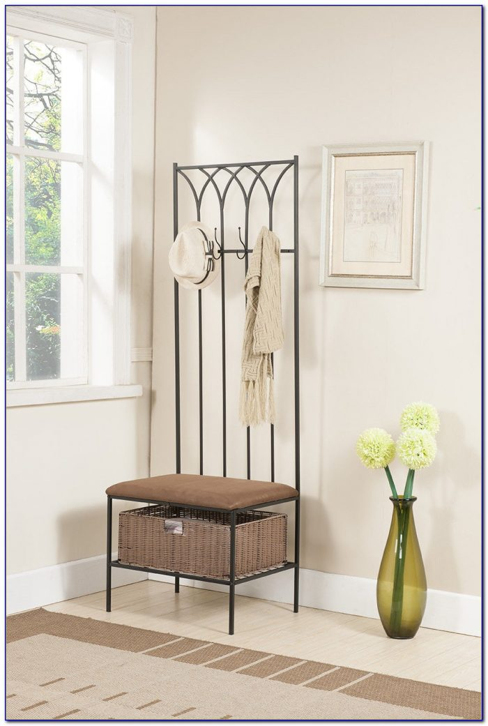 Foyer And Entryways Uk : Entryway wall mount coat rack w shoe storage bench in