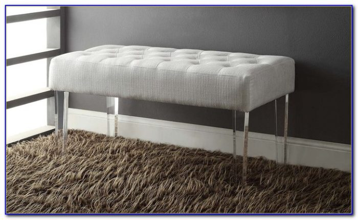 Grey Bench With Acrylic Legs
