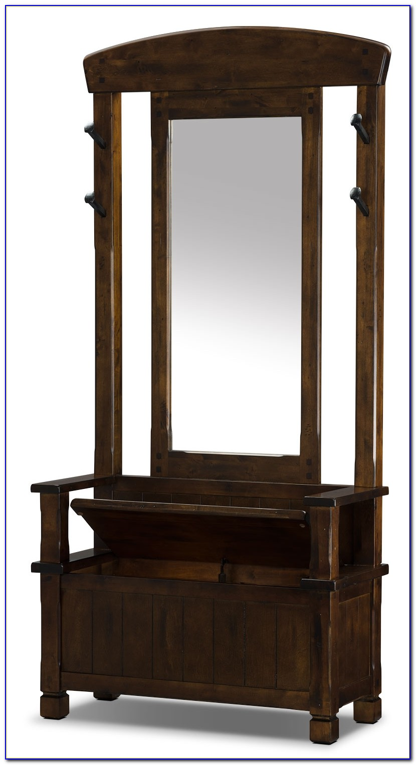 Hall Tree Storage Bench With Mirror