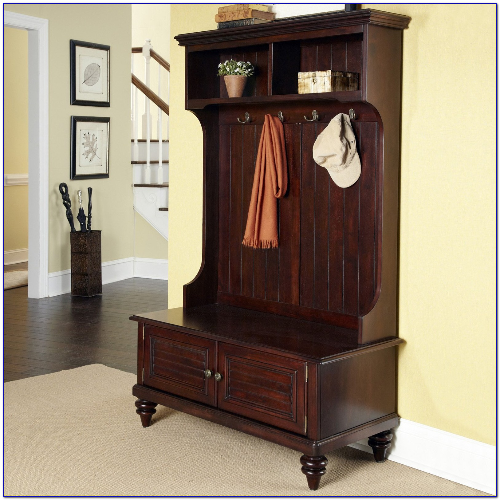 Hall Tree With Storage Bench Antique