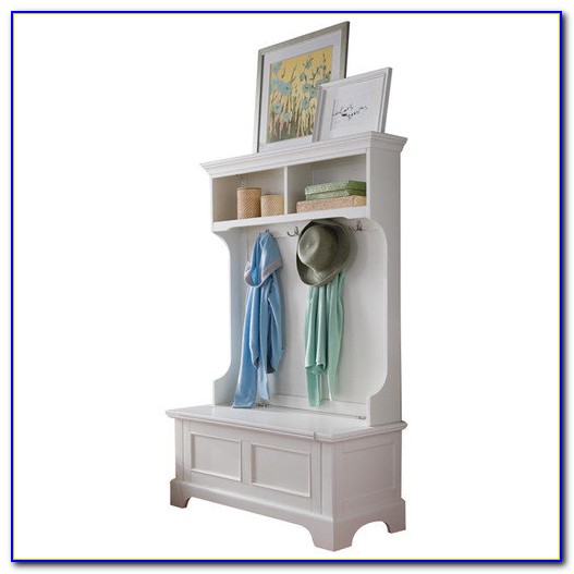 Hall Tree With Storage Bench White