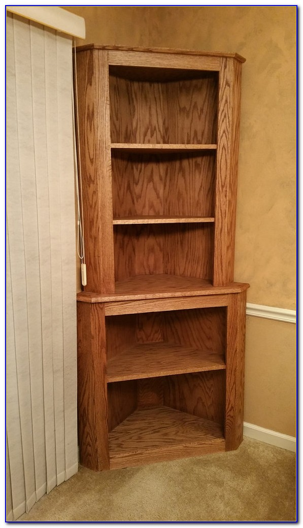 Oak Corner Bookshelf