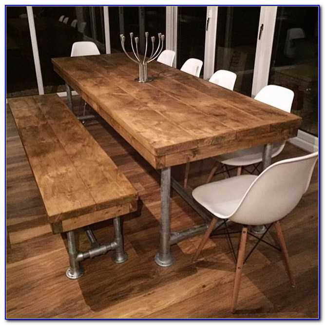 Rustic Dining Table With Benches
