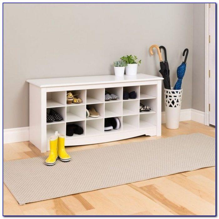 Shoe Storage Cubbie Bench White