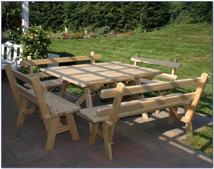 Square Picnic Table With Benches