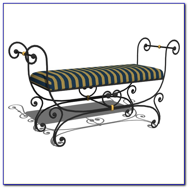 Black Wrought Iron Bench Seat