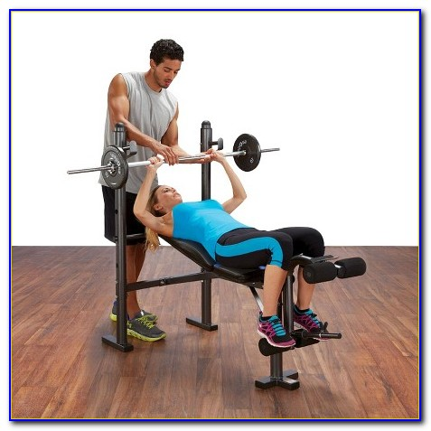 Body Champ Mid Width Weight Bench With Lat Tower & Arm Curl