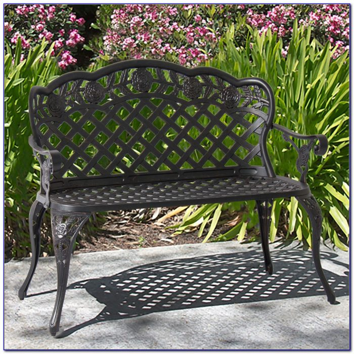 Cast Aluminum Garden Bench Black