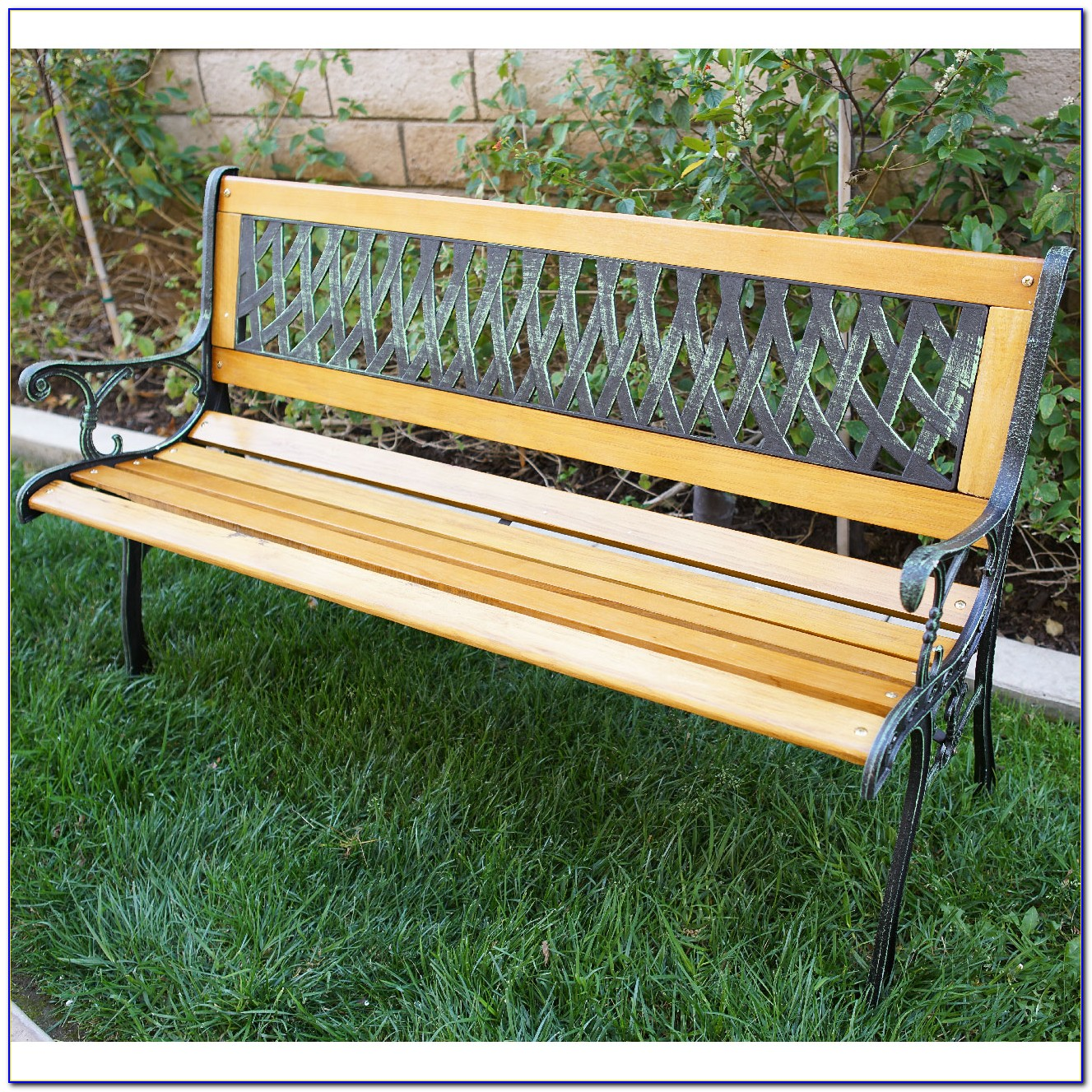 Cast Iron And Wood Patio Bench
