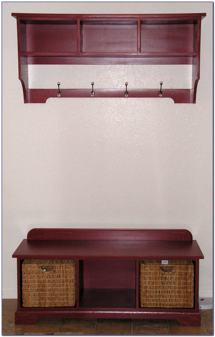 Entry Shelf With Hooks And Bench