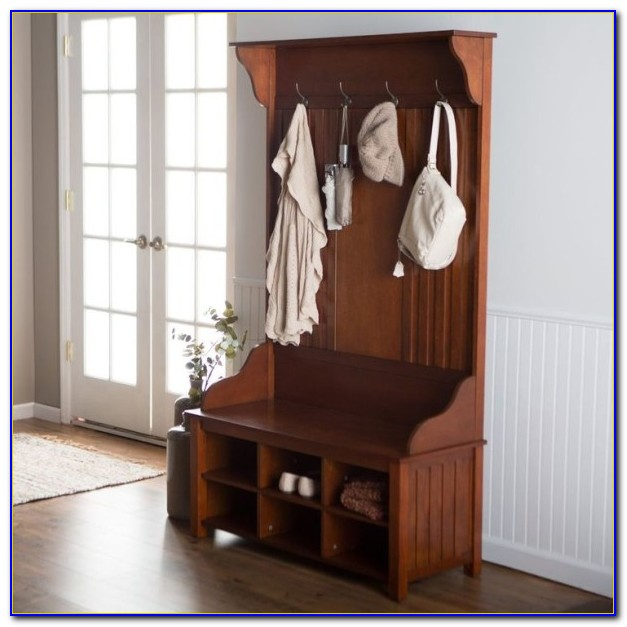 Entryway Hall Tree With Mirror Coat Hooks And Storage Bench