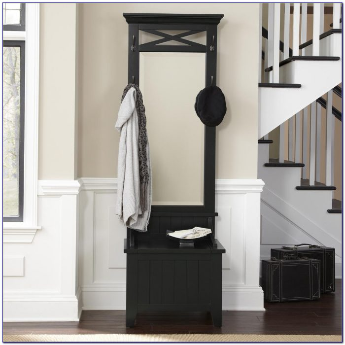 Foyer Mirror With Hooks : Entryway hall tree with mirror coat hooks and storage