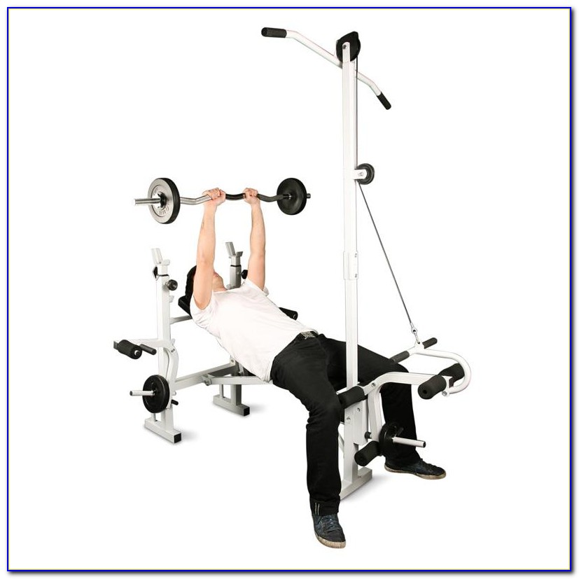 Folding Weight Bench With Lat Tower