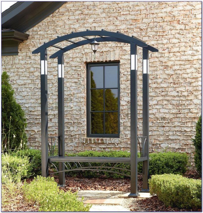 Garden Oasis Metal Arbor With Bench And Cushion Bench Home Design Ideas Zwnbjpemnv105765