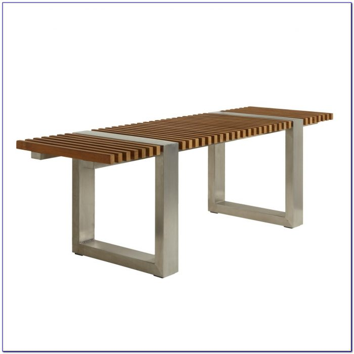 Leather Bench With Stainless Steel Legs