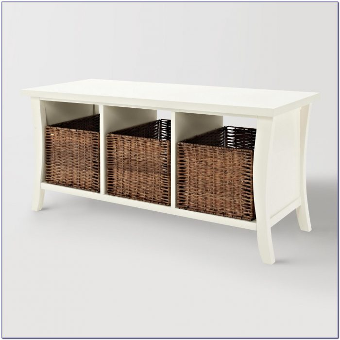 Oak Bench With Storage Baskets