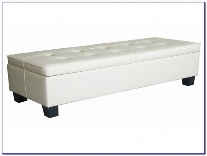 Off White Leather Tufted Storage Bench Ottoman