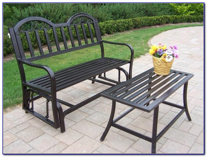 Outdoor Iron Glider Bench