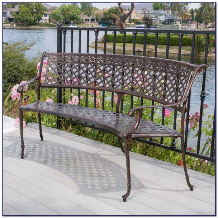 Outdoor Patio Furniture Cast Aluminum Garden Bench