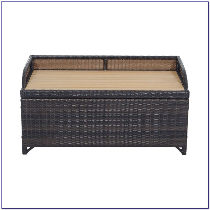 Outdoor Wicker Bench Seat With Storage