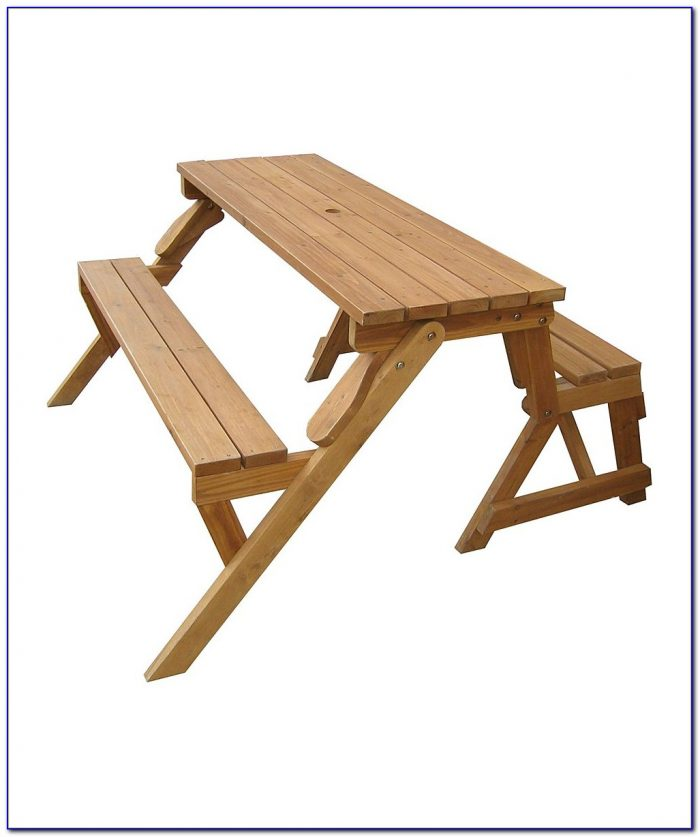 Park Bench Converts To Picnic Table