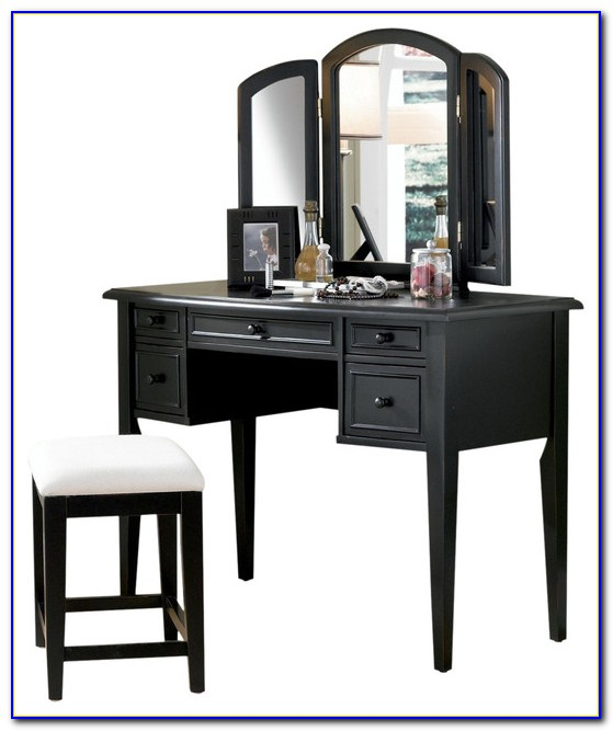 Powell Vanity With Tri Fold Mirror And Bench Marquis Cherry Finish