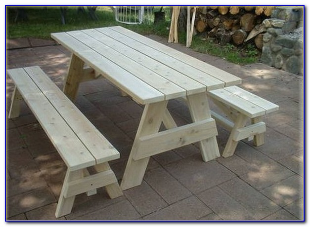 Round Wood Picnic Tables With Detached Benches