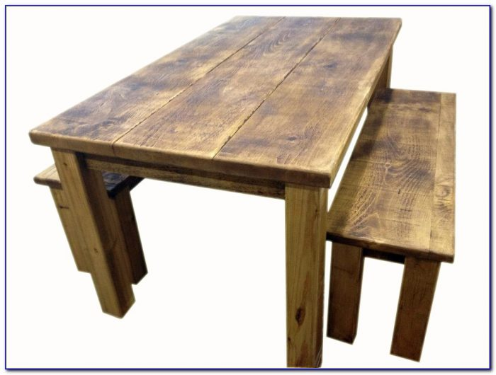 Rustic Dining Table With Bench Seats