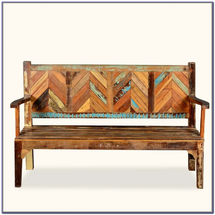 Rustic Wooden Benches With Backs