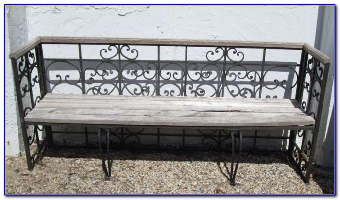 Small Wrought Iron And Wood Bench
