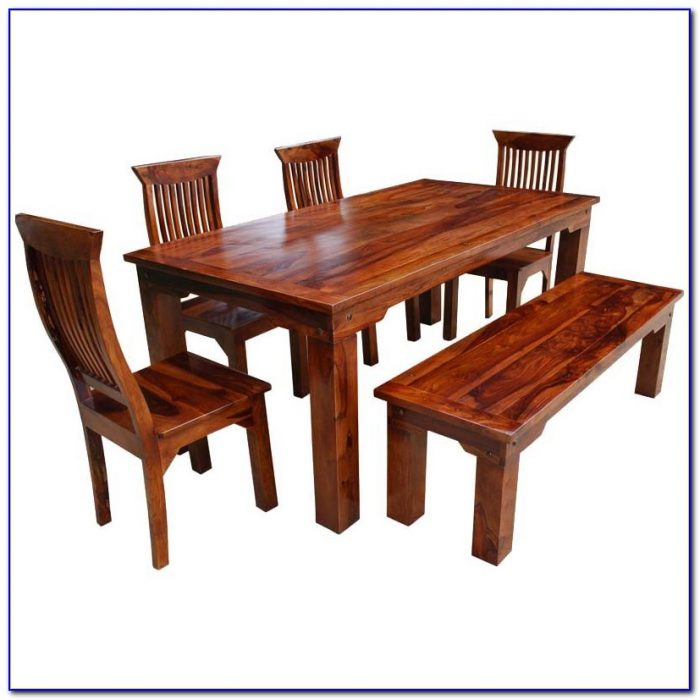 Solid Wood Bench Dining Table