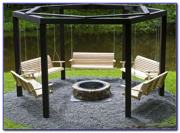 Swinging Benches Around Fire Pit