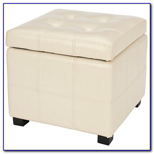 Tufted Leather Storage Bench Cream