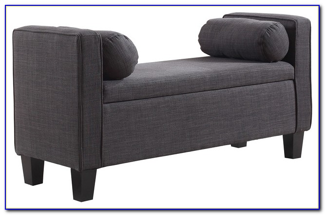 Upholstered Storage Bench With Rolled Arms