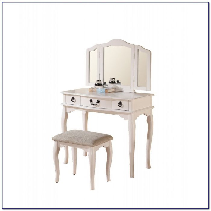 Terrific Princess Vanity Set With Mirror And Bench White