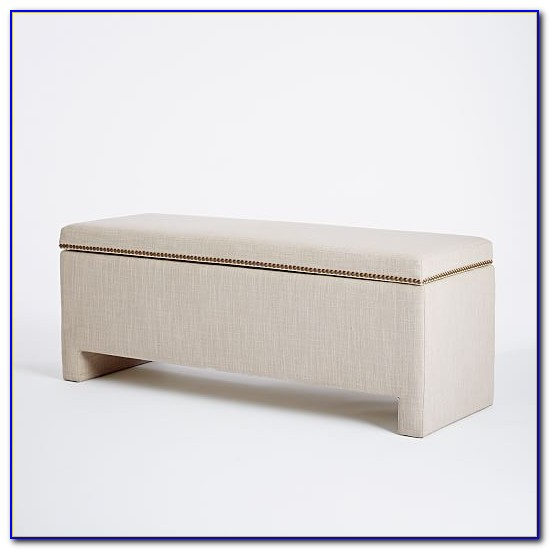 White Padded Bench With Storage