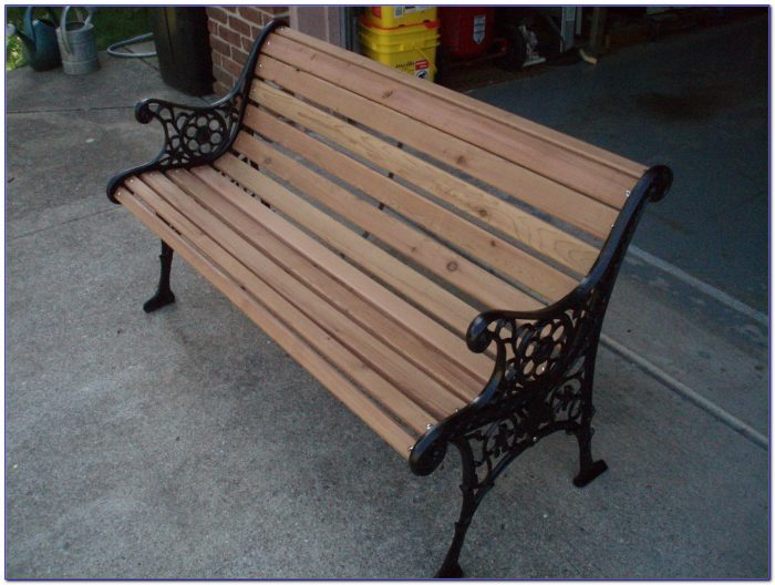 White Wrought Iron Park Bench