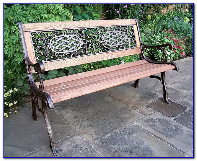 Wood And Wrought Iron Bench