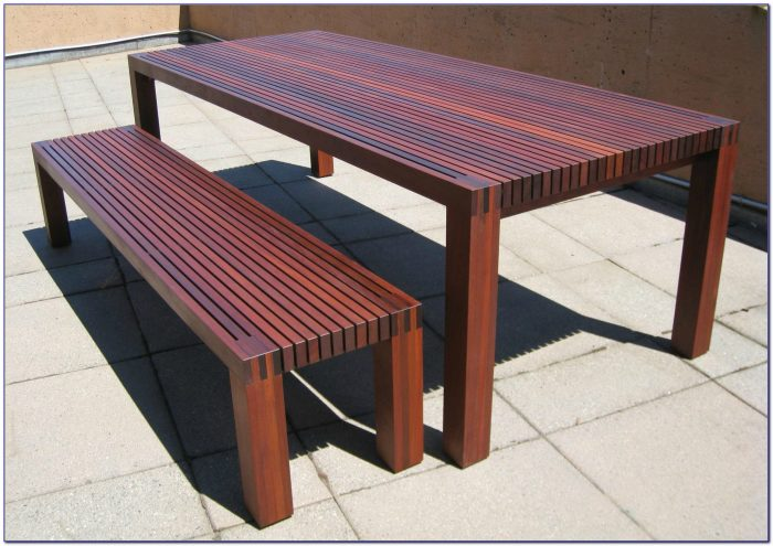 Wood Dining Table And Bench Set