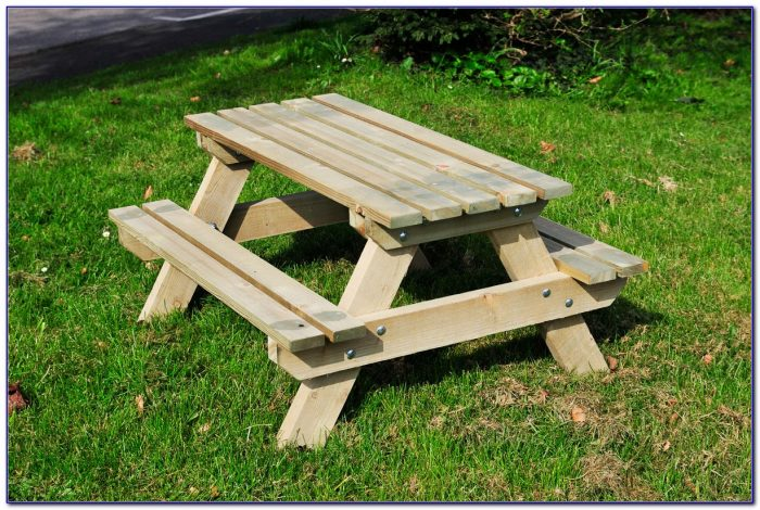 Wood Picnic Table With Bench